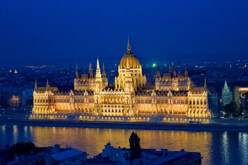 Hungary, Budapest, The neo-gothic Hungarian Parliament building, designed by Imre Steindl : Stock Photo