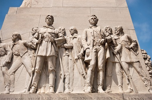 James Butler Bonham and James Bowie statues at Cenotaph memorial to the Alamo defenders, by Pompeo Coppini, in San Antonio, Texas, USA : Stock Photo