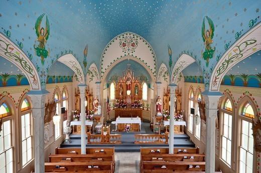 Interior of Sts Cyril & Methodius Catholic Church, Painted Churches of Texas, Dubina, near Weimar, Texas, USA : Stock Photo