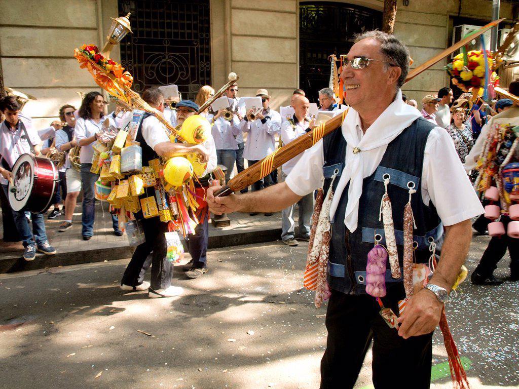 Popular festival of choirs humorous held around Pentecost. Barceloneta neighborhood, Barcelona, Catalonia, Spain. : Stock Photo