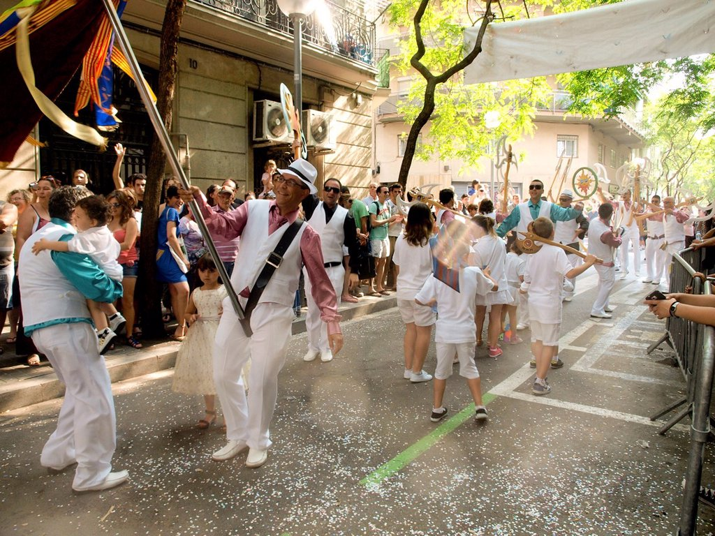 Popular festival of choirs humorous held around Pentecost. Barceloneta neighborhood, Barcelona, Catalonia, Spain. : Stock Photo