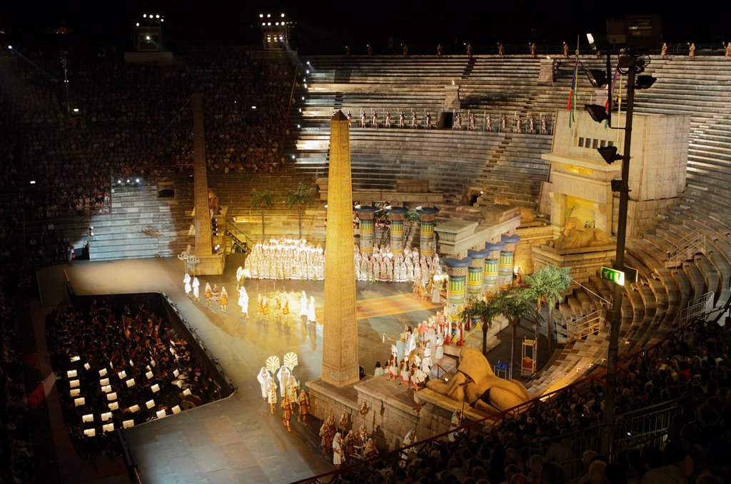 Stock Photo: 1566-1154645 Aida by Giuseppe Verdi, performance at Arena, Verona, Italy
