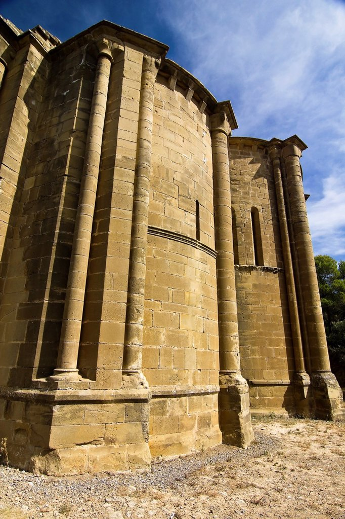 Stock Photo: 1566-1154684 Apses of the church of Santiago - Romanesque Style - Aguero - Huesca - Aragón - Spain - Europe