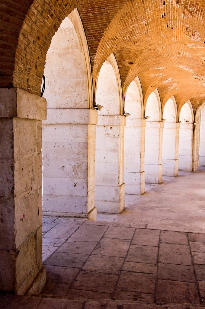 Arcades of the Church of San Antonio - Aranjuez - Community of Madrid - Spain - Europe : Stock Photo