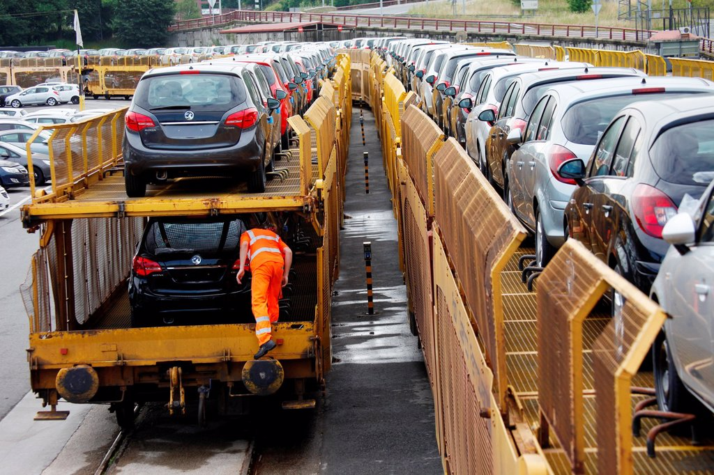 Stock Photo: 1566-1155029 Car Transport by rail, transportation of cars and light commercial vehicles, Pasajes Port, Gipuzkoa, Basque Country, Spain