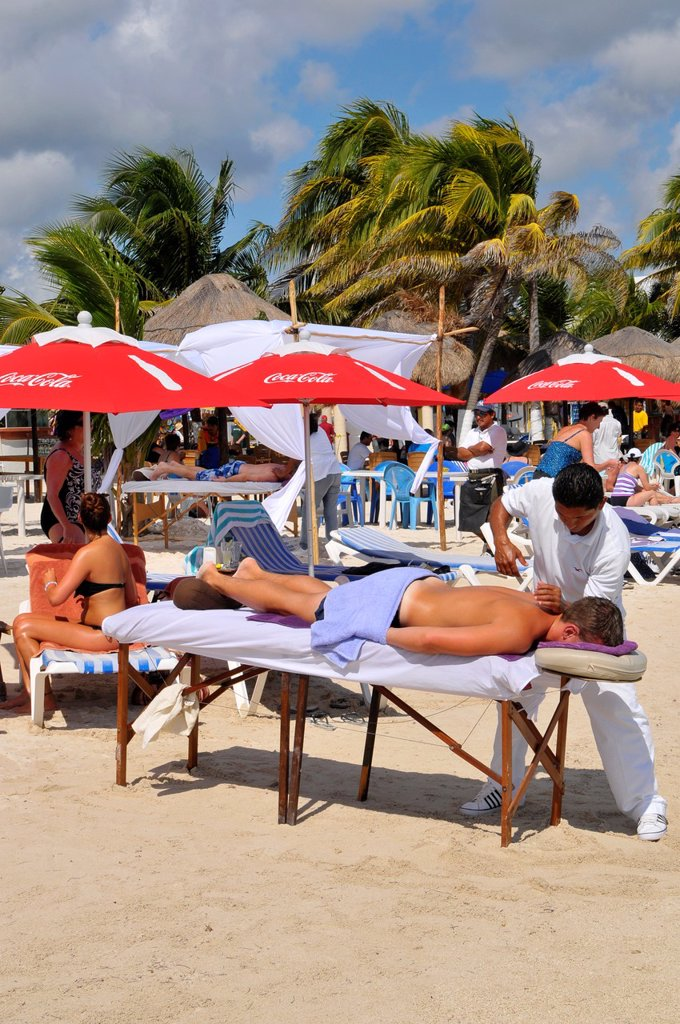 Massage Tables Costa Maya Mexico Beach Caribbean Cruise Ship Port : Stock Photo