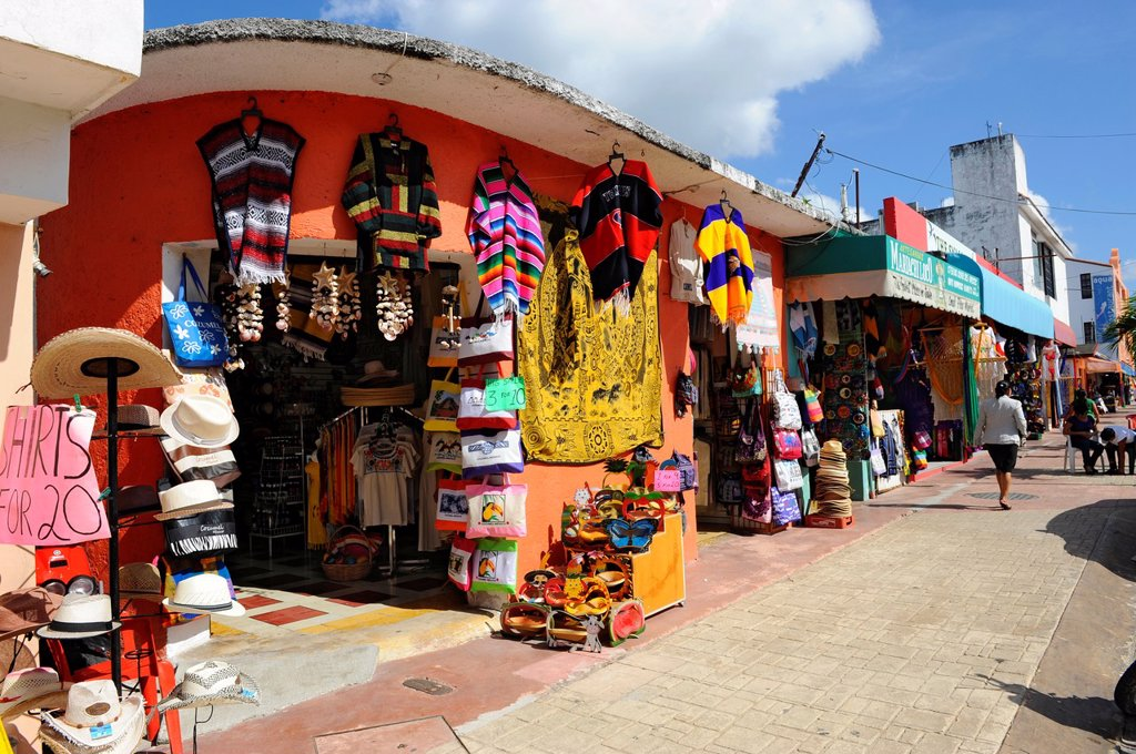 Shopping Area Cozumel Mexico Cruise Ship Port : Stock Photo