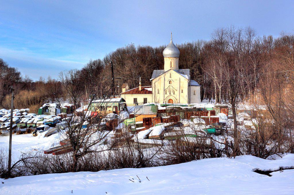 Stock Photo: 1566-1156062 Church of St John the Theologian at the Vitka river 1536, Veliky Novgorod, Novgorod region, Russia