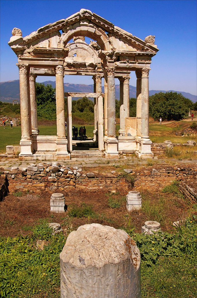Stock Photo: 1566-1156320 Turkey- Tetrapylon at Aphrodisias Greek: fds, Aphrodisiás was a small city in Caria, on the southwest coast of Asia Minor  Its site is located near the modern village of Geyre, Turkey, about 230 km 140 mi south-east of Izmir and about 100 km 62 mi inland. Turkey- Tetrapylon at Aphrodisias Greek: fds, Aphrodisiás was a small city in Caria, on the southwest coast of Asia Minor  Its site is located near the modern village of Geyre, Turkey, about 230 km 140 mi south-east of Izmir and about 100 km 62