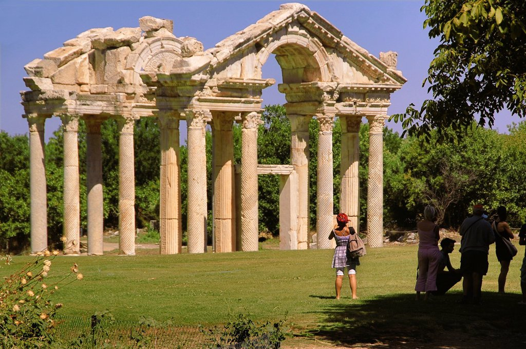 Stock Photo: 1566-1156323 Turkey- Tetrapylon at Aphrodisias Greek: fds, Aphrodisiás was a small city in Caria, on the southwest coast of Asia Minor  Its site is located near the modern village of Geyre, Turkey, about 230 km 140 mi south-east of Izmir and about 100 km 62 mi inland. Turkey- Tetrapylon at Aphrodisias Greek: fds, Aphrodisiás was a small city in Caria, on the southwest coast of Asia Minor  Its site is located near the modern village of Geyre, Turkey, about 230 km 140 mi south-east of Izmir and about 100 km 62