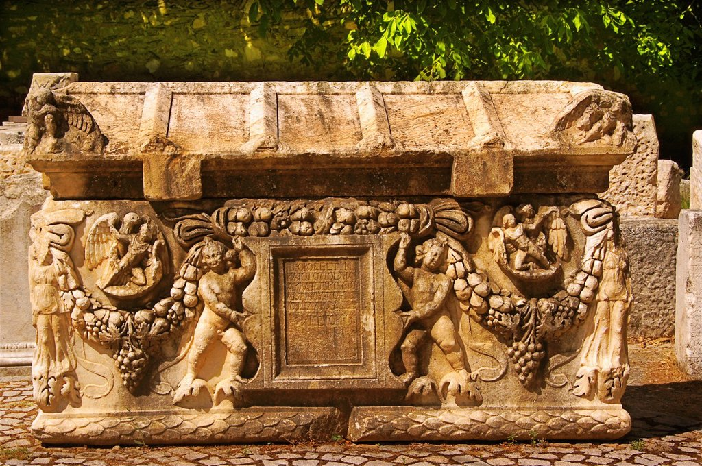 Stock Photo: 1566-1156538 Turkey- a sarcophagus at Aphrodisias Greek: fds, Aphrodisiás was a small city in Caria, on the southwest coast of Asia Minor  Its site is located near the modern village of Geyre, Turkey, about 230 km 140 mi south-east of Izmir and about 100 km 62 mi inla. Turkey- a sarcophagus at Aphrodisias Greek: fds, Aphrodisiás was a small city in Caria, on the southwest coast of Asia Minor  Its site is located near the modern village of Geyre, Turkey, about 230 km 140 mi south-east of Izmir and about 100 k