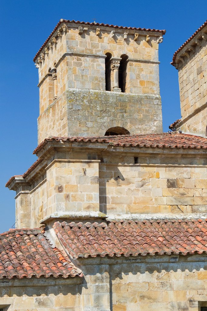 Stock Photo: 1566-1157170 Detail of Santa Cruz collegiate, in Socobio, Castañeda  It is considered as one of the most important romanesque churches of Cantabria and declarated National Monument  Spain