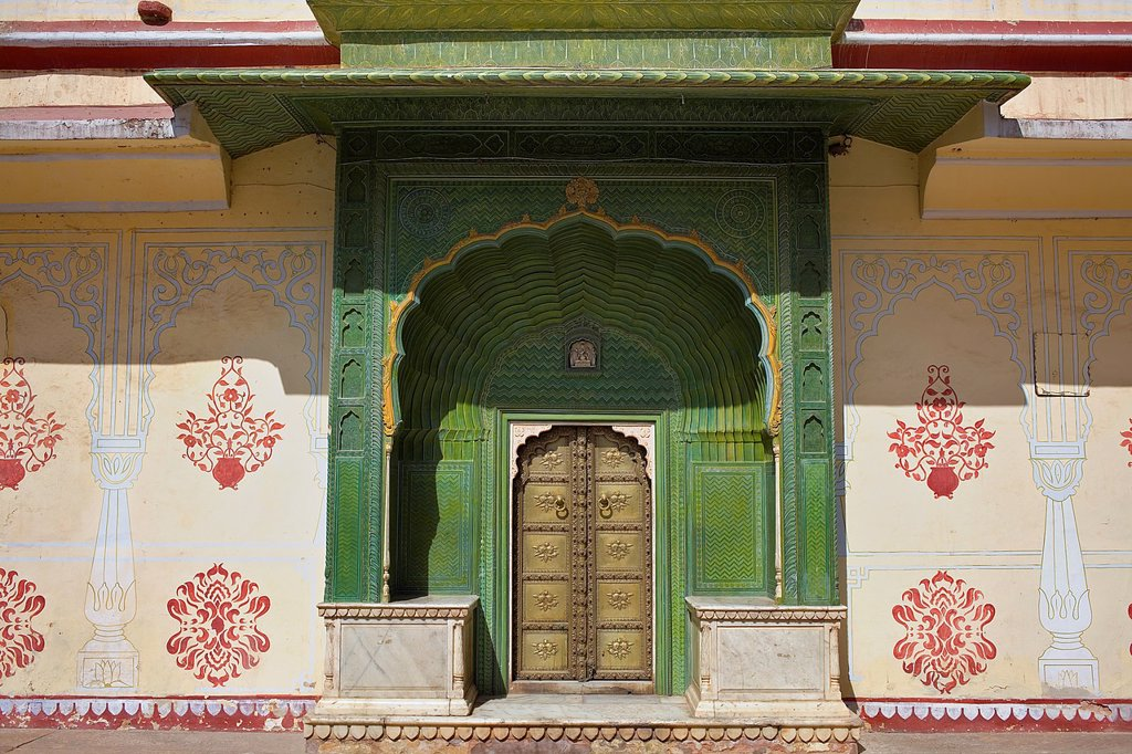 Stock Photo: 1566-1157569 Spring door, in Courtyard of Pitam Niwas Chowk,City Palace,Jaipur, Rajasthan, India