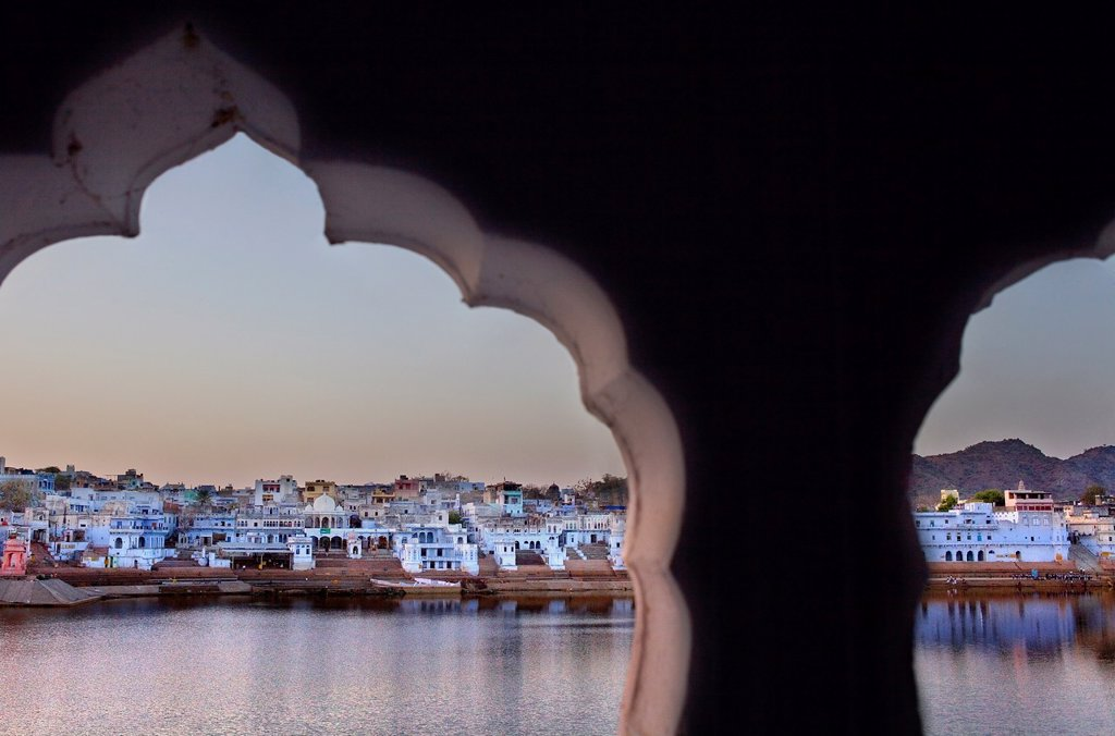 The holy lake and the village of Pushkar,pushkar, Rajasthan, india : Stock Photo