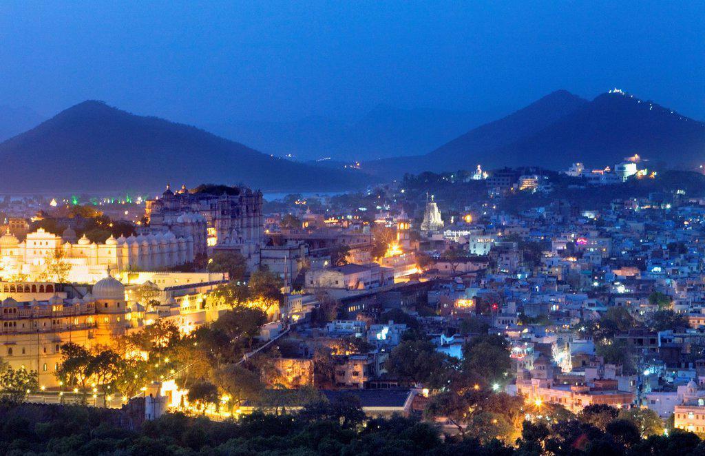 Stock Photo: 1566-1157629 City Palace and skyline of Udaipur,Udaipur, Rajasthan, india