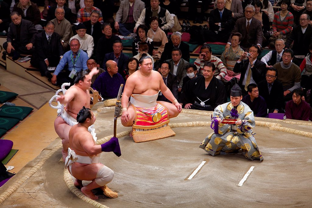 Stock Photo: 1566-1157676 Sumo tournament in Ryogoku kokugikan stadium,Tokyo city, Japan