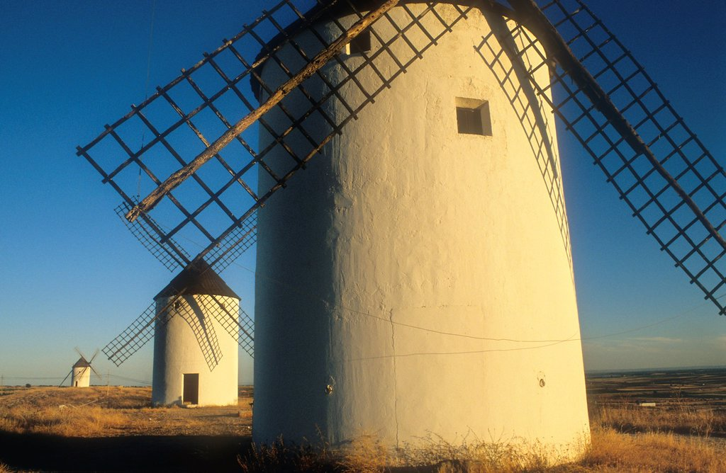 Stock Photo: 1566-1157686 Windmills,Mota del Cuervo,Cuenca province,Castilla La Mancha,the route of Don Quixote, Spain