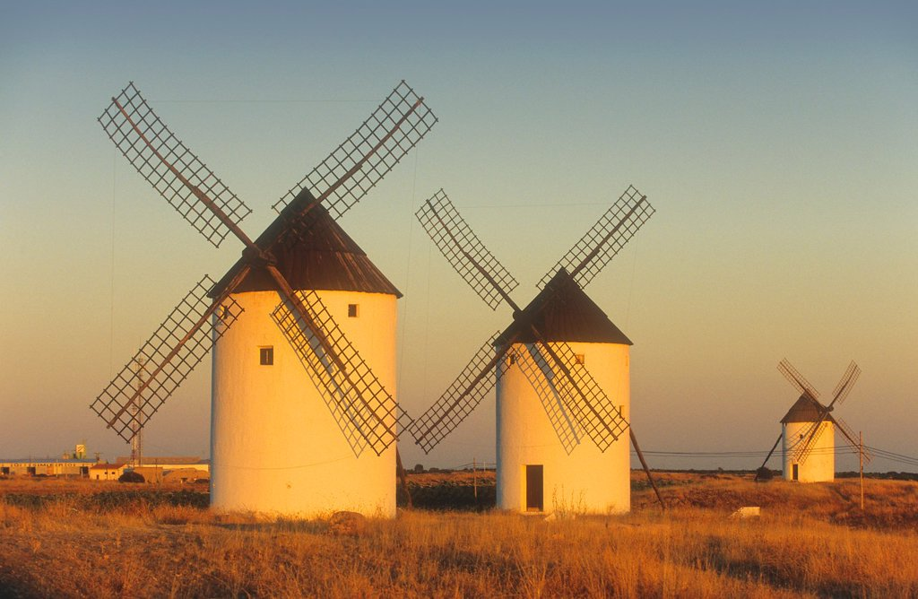 Windmills,Mota del Cuervo,Cuenca province,Castilla La Mancha,the route of Don Quixote, Spain : Stock Photo