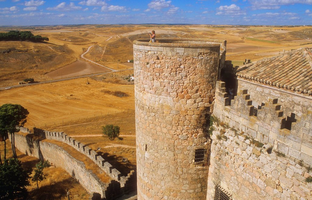 Belmonte castle 15th century,Belmonte,Cuenca province,Castilla La Mancha,the route of Don Quixote, Spain : Stock Photo