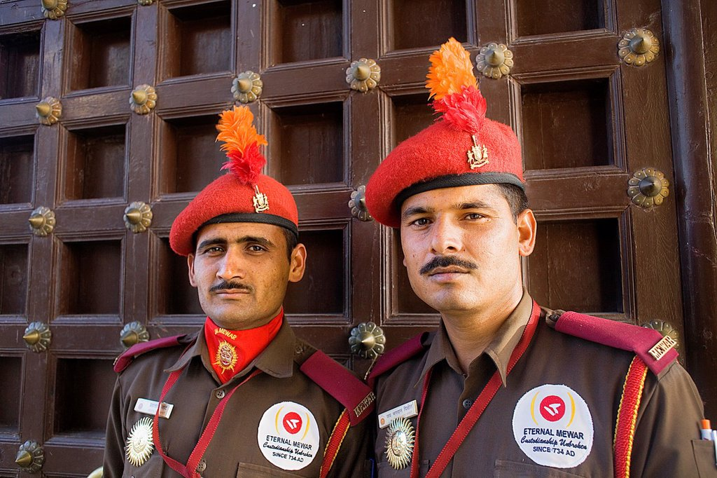 Stock Photo: 1566-1157833 City Palace,guards,Udaipur, Rajasthan, india