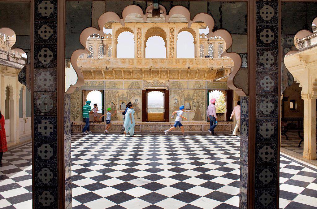 Terrace,City Palace,Udaipur, Rajasthan, india : Stock Photo