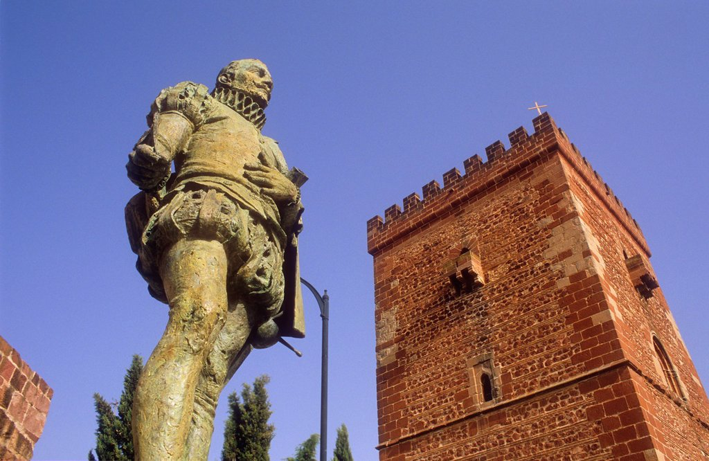 Miguel de Cervantes Saavedra Monument and Don Juan de Austria fortified tower or `Torreón del Prior´,Alcázar de San Juan, Ciudad Real province, Castilla La Mancha,the route of Don Quixote, Spain : Stock Photo