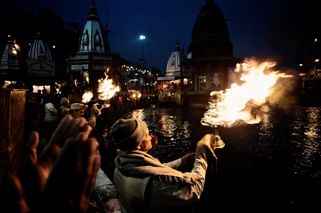 Ganga Aarti ceremony, Haridwar  Ganges river, Uttaranchal, India. : Stock Photo