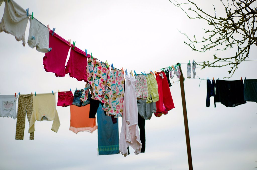 clothes hanging, lifestyle, home, nature, rural life, nature, outdoors. : Stock Photo
