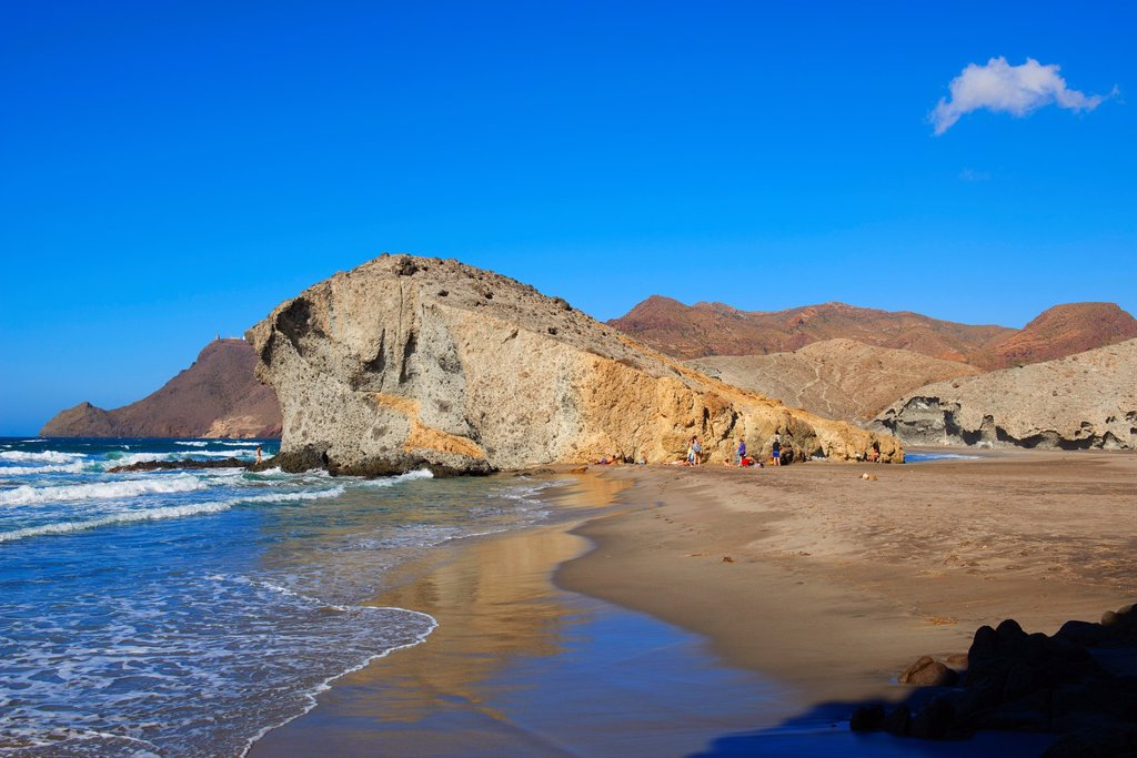 Stock Photo: 1566-1159050 Cabo de Gata, Monsul Beach  Biosphere Reserve, Cabo de Gata-Nijar Natural Park, Almeria, Andalusia, Spain