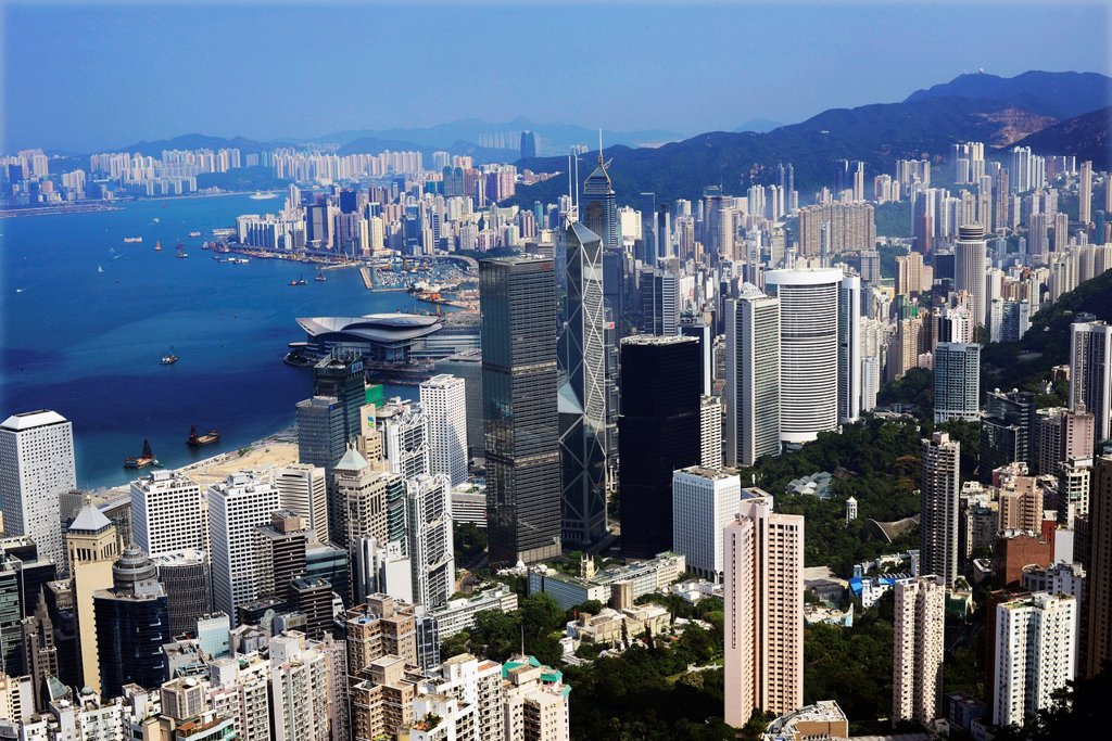 Beautiful city views as seen from The Peak, Hong Kong : Stock Photo