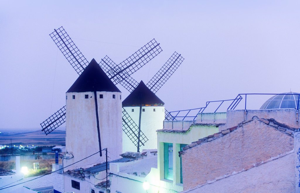 Windmills, Campo de Criptana, Ciudad Real province, Castilla-La Mancha,the route of Don Quixote, Spain : Stock Photo