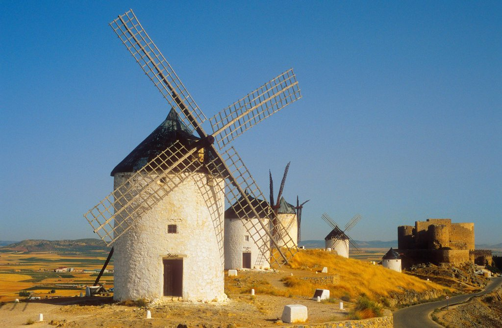 Stock Photo: 1566-1159369 Windmills, Consuegra, province of Toledo,Castilla La Mancha,the route of Don Quixote, Spain