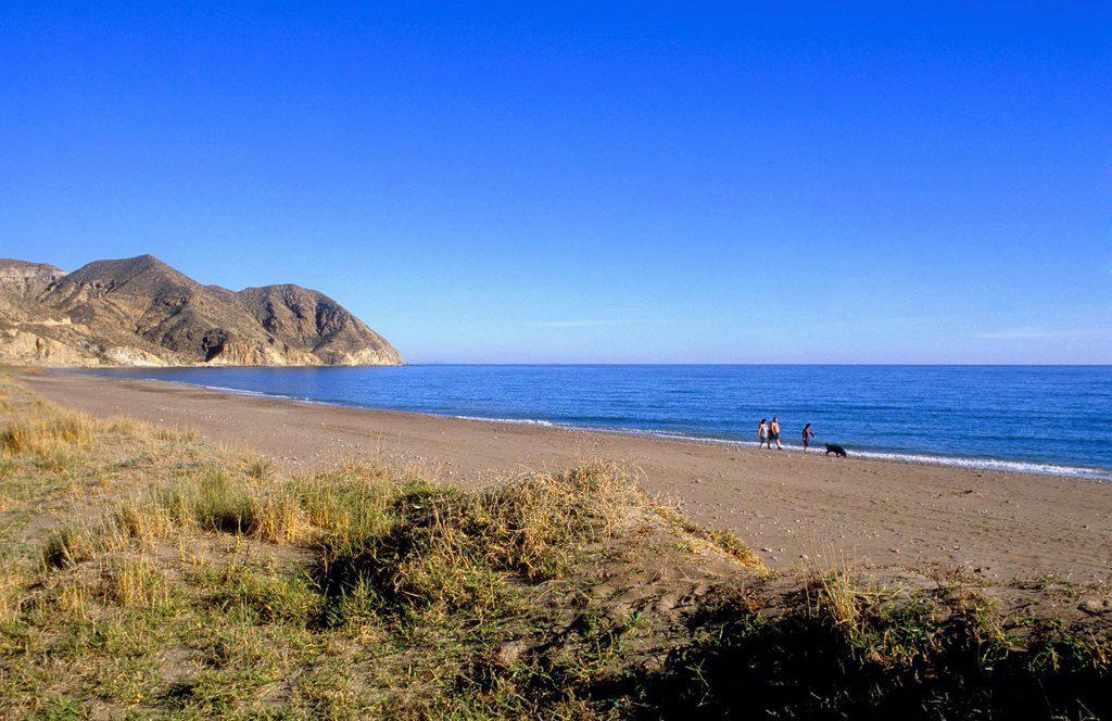 Stock Photo: 1566-1159400 Playa del Algarrobico Carboneras, Cabo de Gata-Nijar Natural Park  Biosphere Reserve, Almeria province, Andalucia, Spain