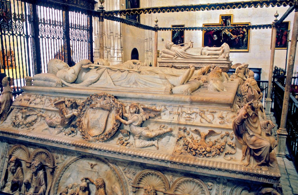 Stock Photo: 1566-1159403 royal mausoleum Tomb of the Catholic Monarchs and in background tomb of Juana `la loca´ y Felipe `el Hermoso´, by Domenico Fancelli  In Royal Chapel of the cathedral 16th century Granada  Andalucia, Spain