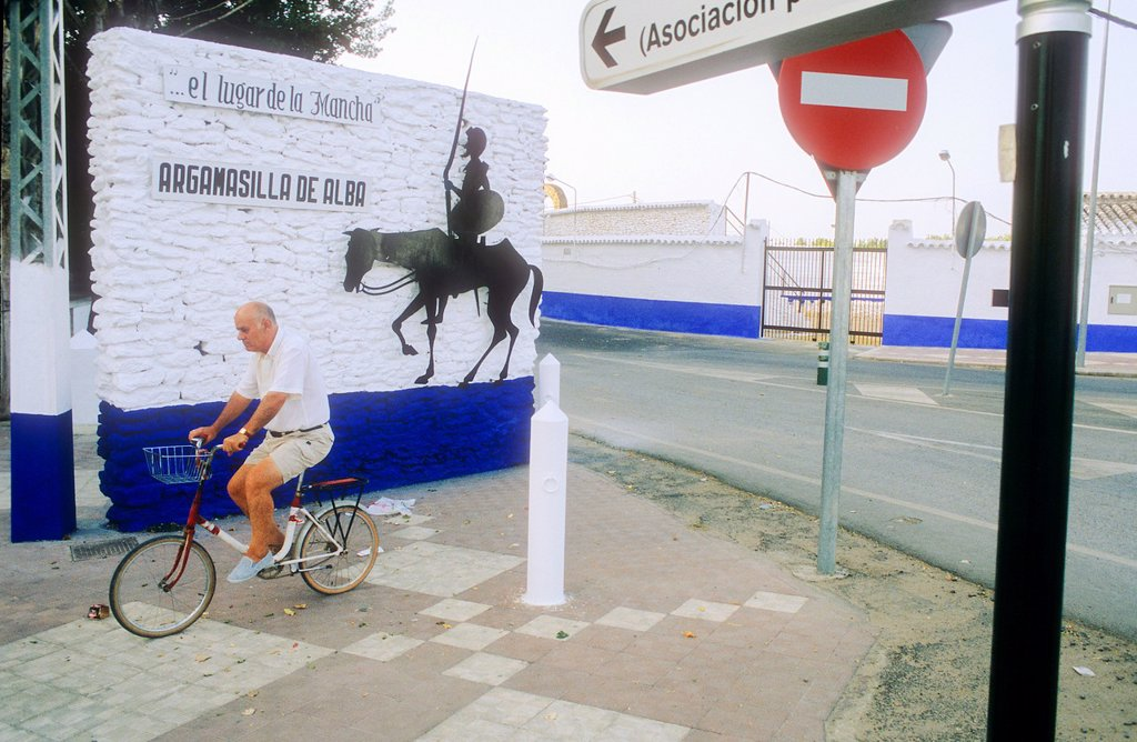 Street scene,Argamasilla de Alba,Ciudad Real province, Castilla-La Mancha,the route of Don Quixote, Spain : Stock Photo