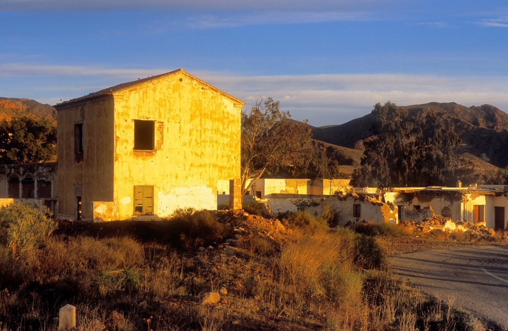 Stock Photo: 1566-1159747 Rodalquilar Abandoned houses of the miners Cabo de Gata-Nijar Natural Park  Biosphere Reserve, Almeria province, Andalucia, Spain