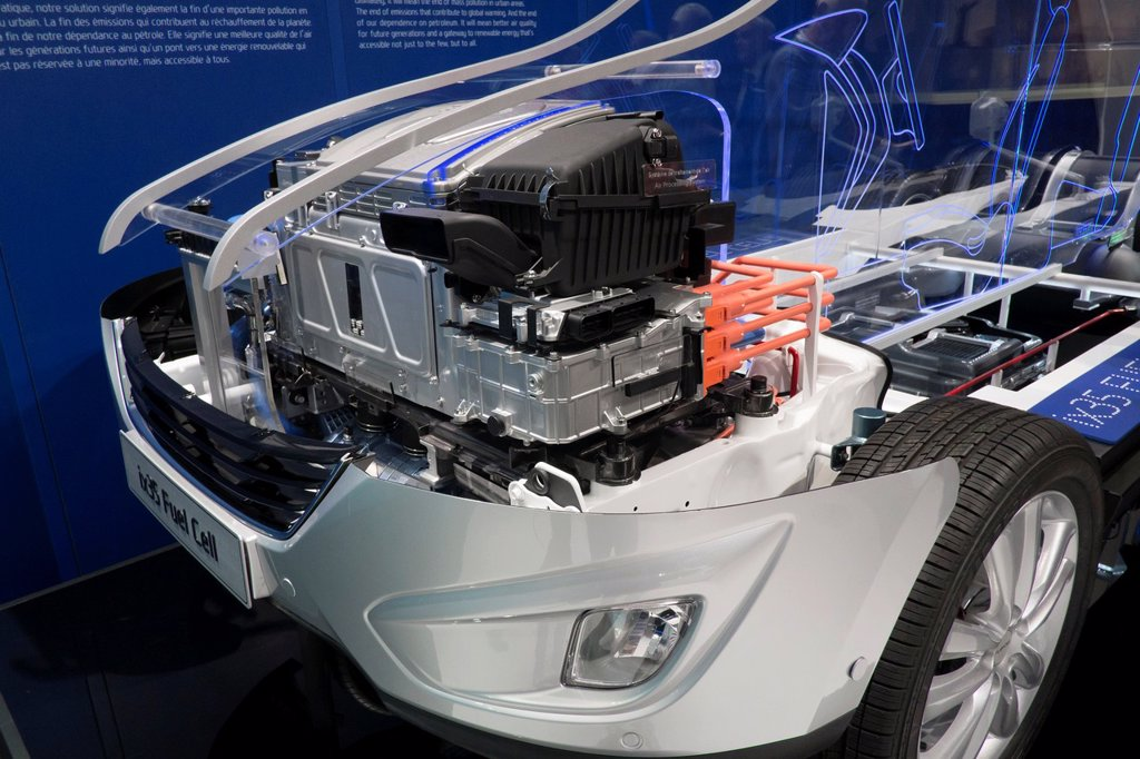 Stock Photo: 1566-1159821 Detail of cut-away of hydrogen fuel cell concept Hyundai ix35 car at Paris Motor Show 2012