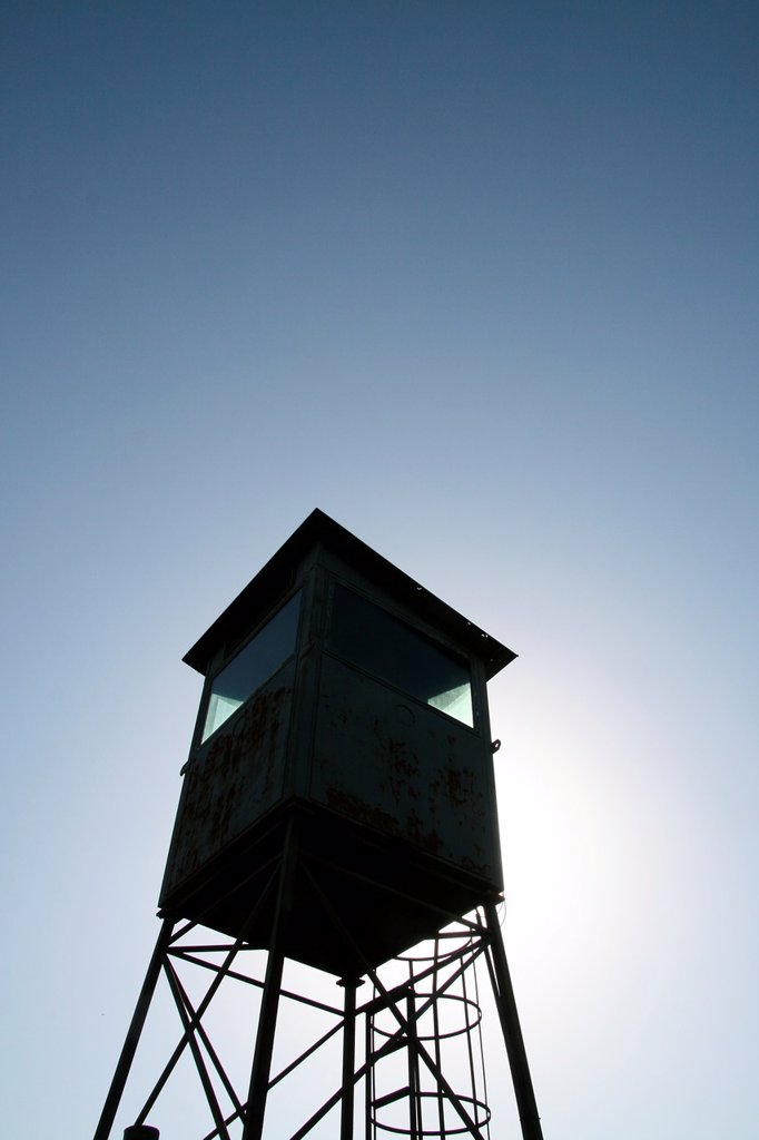 Stock Photo: 1566-1159841 old abandoned military type watch tower in park in rome italy