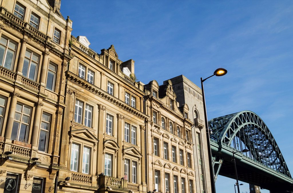 Stock Photo: 1566-1159867 View of The Tyne Bridge from The Quayside in Newcastle, England, United Kingdom