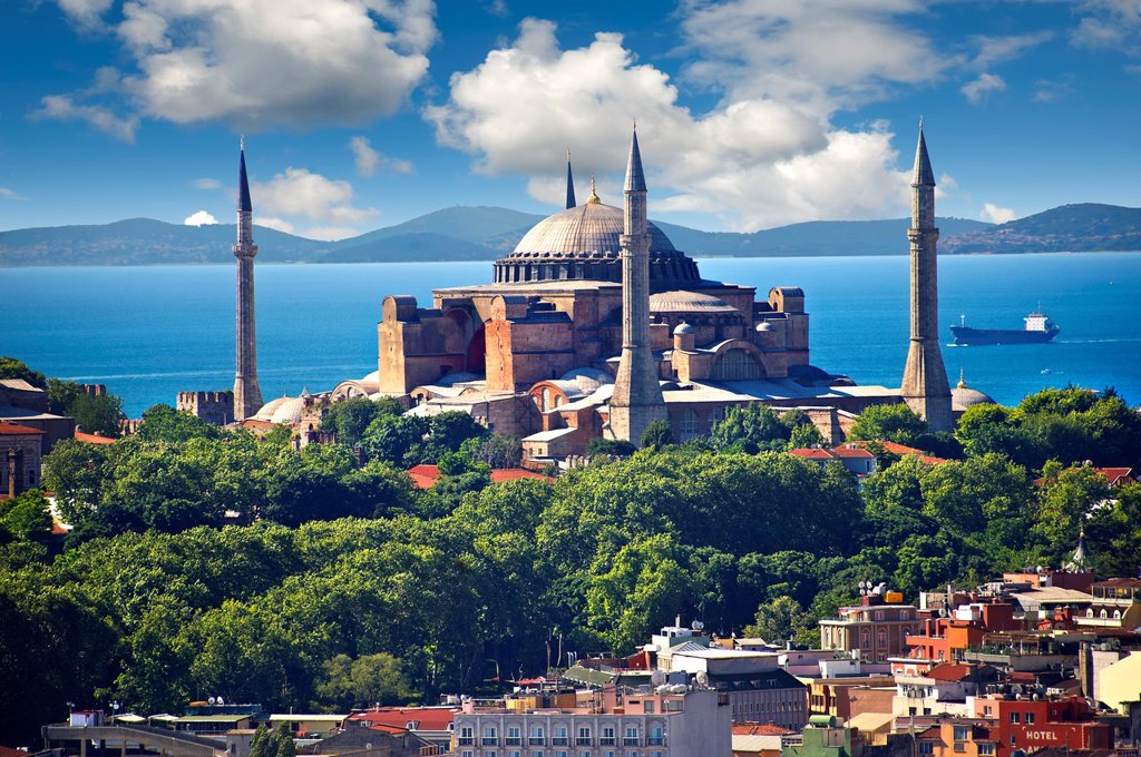 Stock Photo: 1566-1160273 The exterior of the 6th century Byzantine Eastern Roman Hagia Sophia  Ayasofya  built by Emperor Justinian  The size of the dome was un-surpassed until the 16th century, Istanbul, Turkey