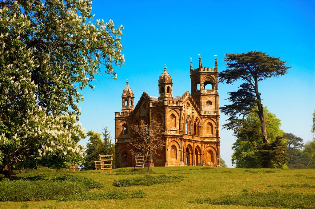 Stock Photo: 1566-1160280 The Gothic Temple  1740´s  designed by James Gibbs in the English landscape gardens of Stowe, designed by Capability Brown  Buckingham, England