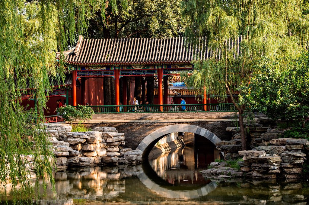 Traditional Chinese pavilion in Zhongshan Park in Beijing, China : Stock Photo