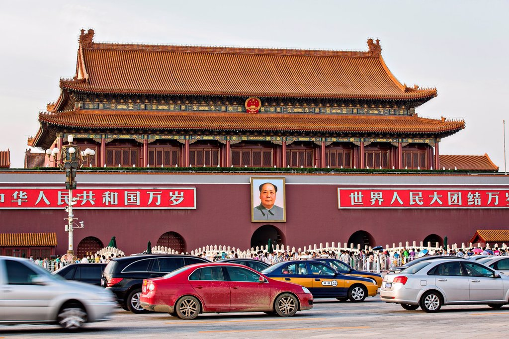 Stock Photo: 1566-1160518 Tian´an Men gate or the Gate of Heavenly Peace with traffic in Beijing, China