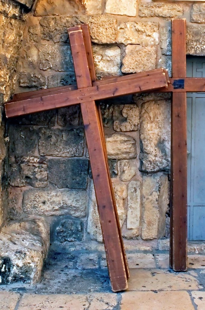 Stock Photo: 1566-1160779 Photo of crucifixion crosses in a street of the old city of Jerusalem, Israel