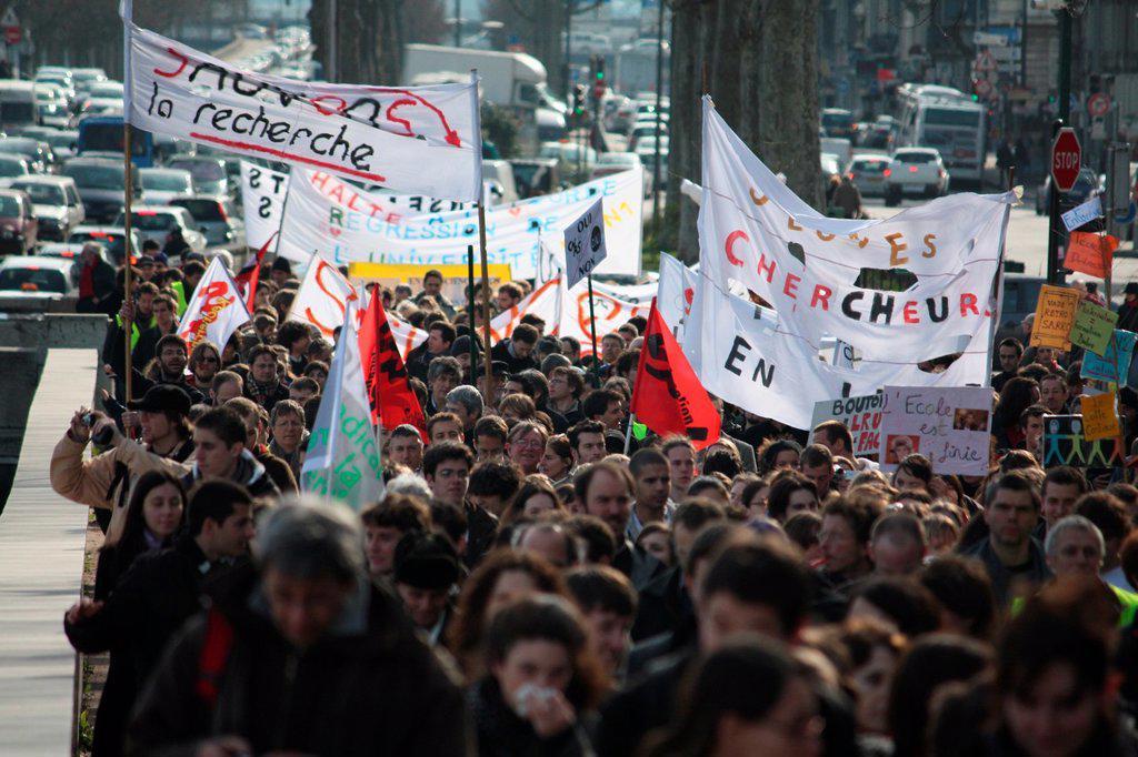 Demonstration against reform, school, university, education, Lyon, public services, Rhône, Rhône-Alpes, France. : Stock Photo