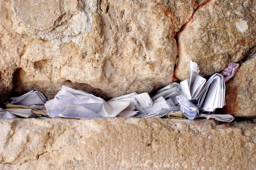 Stock Photo: 1566-1161198 Notes to God in the Western Wall in Jerusalem, Israel