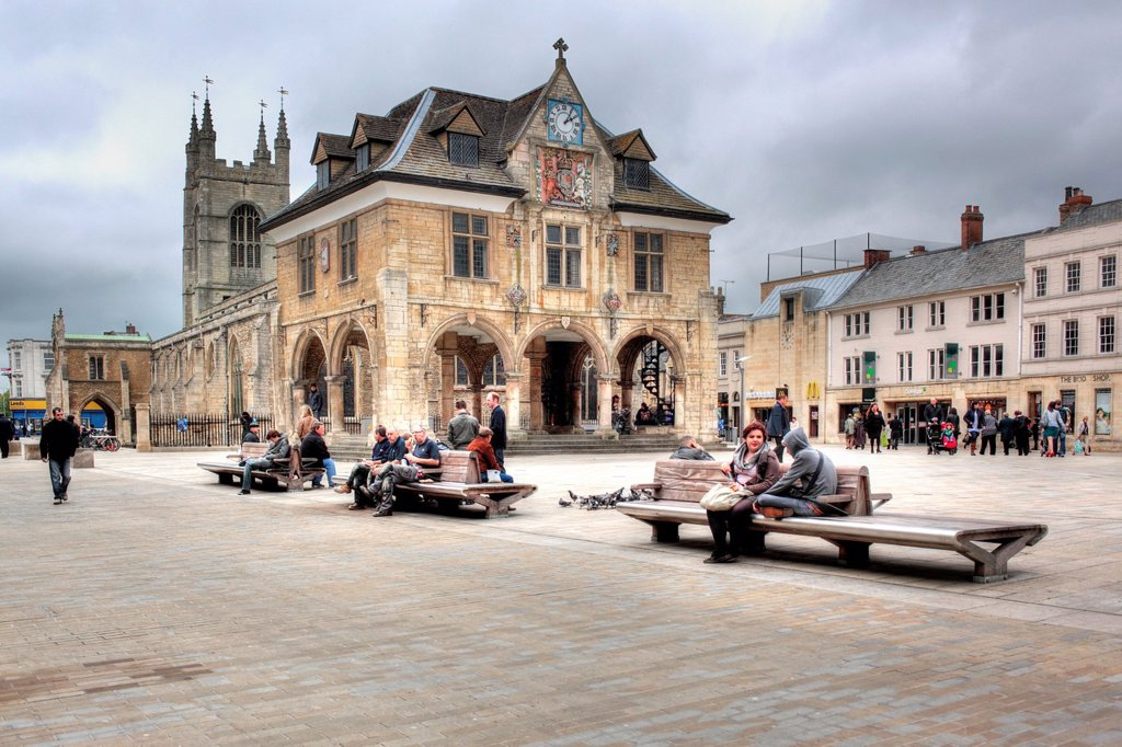Stock Photo: 1566-1162400 The Guildhall or Butter Cross 1671, Cathedral Square, Peterborough, Cambridgeshire, England, UK