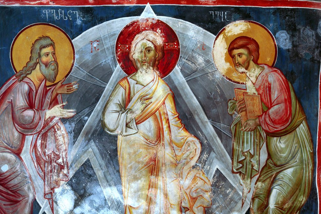 Stock Photo: 1566-1162512 Mural painting, St Saba´s Church 14th century, Sapara Monastery, Samtskhe-Javakheti, Georgia