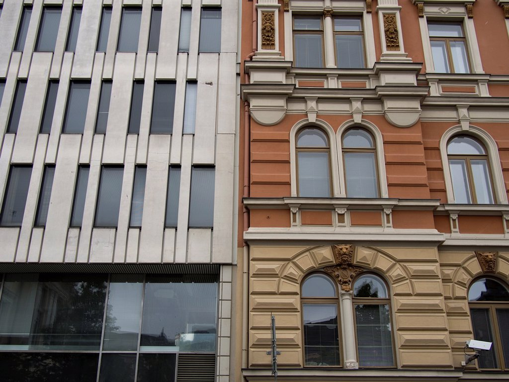 Stock Photo: 1566-1164043 Old and new building facades, side by side in Helsinki, Finland