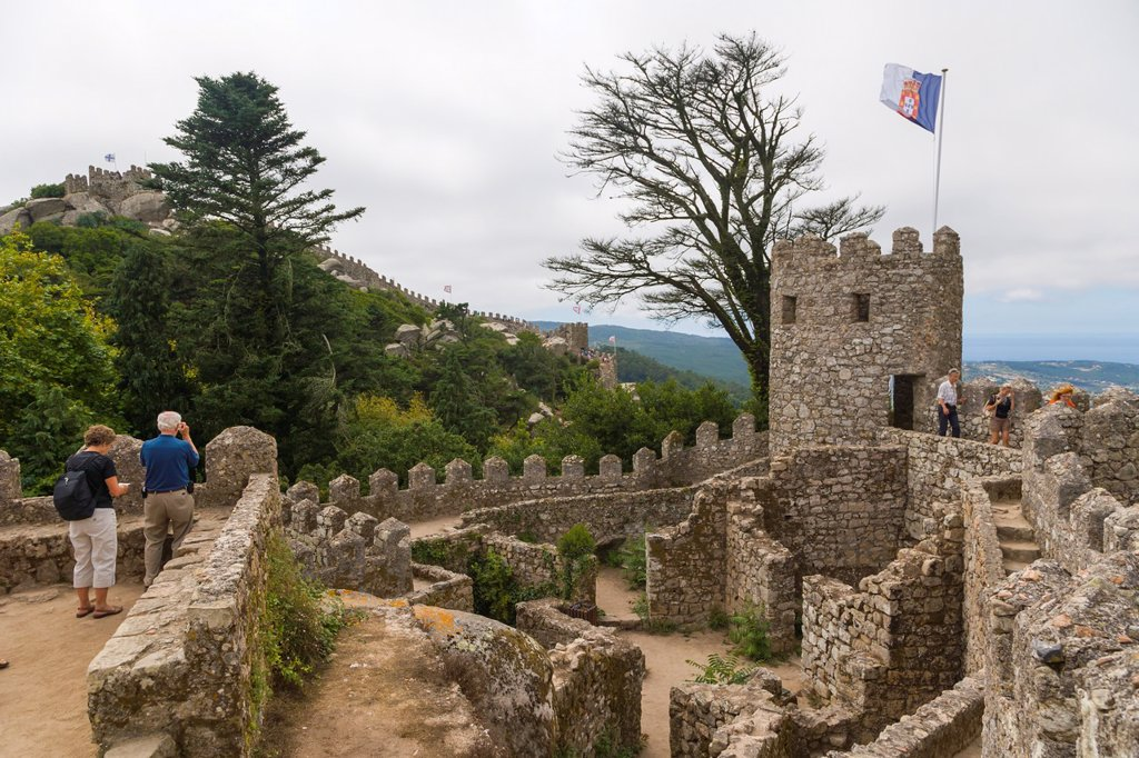 The Moorish Castle, Castle of the Moors, Castelo dos Mouros, Sintra Cascais Natural Park, Grande Lisboa, Lisbon Region, Portugal : Stock Photo